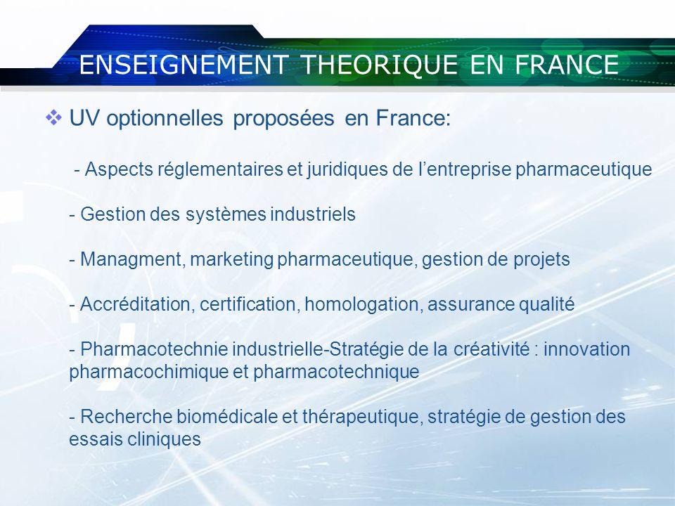 ENSEIGNEMENT THEORIQUE EN FRANCE UV optionnelles proposées en France: - Aspects réglementaires et juridiques de lentreprise pharmaceutique - Gestion d