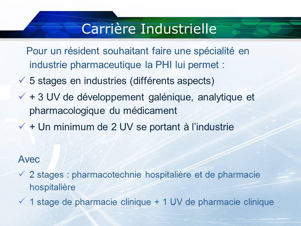 Pour un résident souhaitant faire une spécialité en industrie pharmaceutique la PHI lui permet : 5 stages en industries (différents aspects) + 3 UV de
