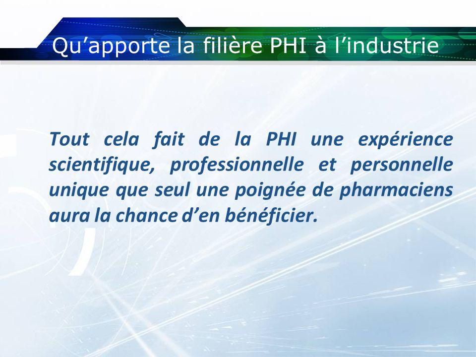 Quapporte la filière PHI à lindustrie Tout cela fait de la PHI une expérience scientifique, professionnelle et personnelle unique que seul une poignée