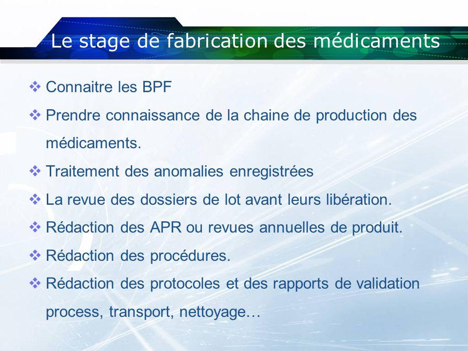 Le stage de fabrication des médicaments Connaitre les BPF Prendre connaissance de la chaine de production des médicaments. Traitement des anomalies en