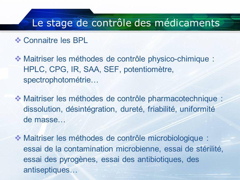 Connaitre les BPL Maitriser les méthodes de contrôle physico-chimique : HPLC, CPG, IR, SAA, SEF, potentiomètre, spectrophotométrie… Maitriser les méth