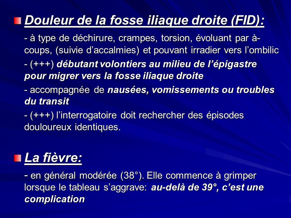 Douleur de la fosse iliaque droite (FID): - à type de déchirure, crampes, torsion, évoluant par à- coups, (suivie daccalmies) et pouvant irradier vers