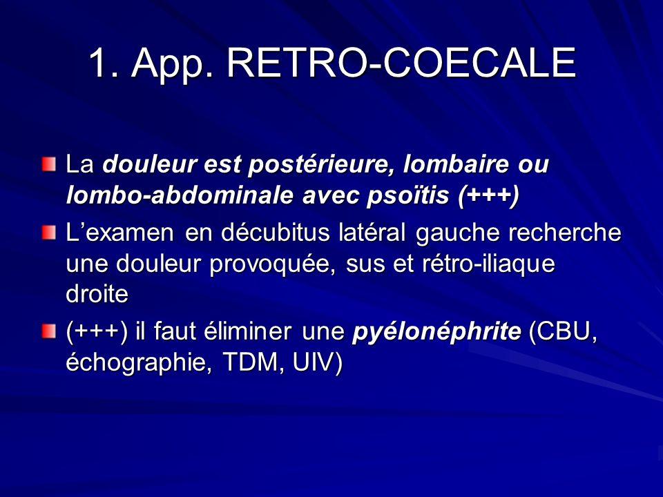 1. App. RETRO-COECALE La douleur est postérieure, lombaire ou lombo-abdominale avec psoïtis (+++) Lexamen en décubitus latéral gauche recherche une do