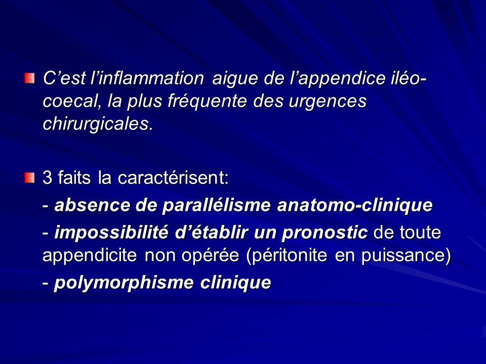 Cest linflammation aigue de lappendice iléo- coecal, la plus fréquente des urgences chirurgicales. 3 faits la caractérisent: - absence de parallélisme