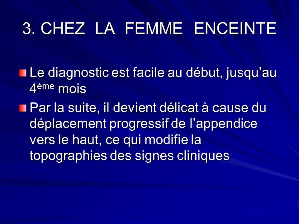 3. CHEZ LA FEMME ENCEINTE Le diagnostic est facile au début, jusquau 4 ème mois Par la suite, il devient délicat à cause du déplacement progressif de