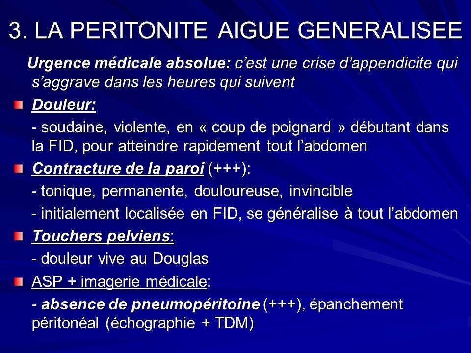 3. LA PERITONITE AIGUE GENERALISEE Urgence médicale absolue: cest une crise dappendicite qui saggrave dans les heures qui suivent Urgence médicale abs