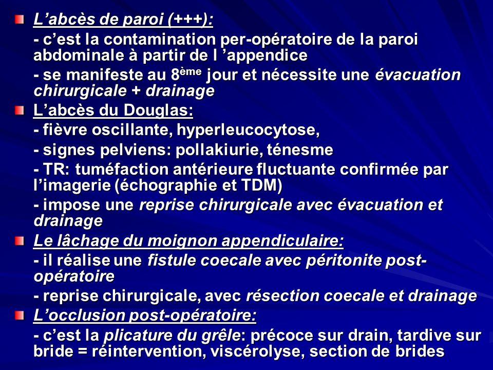 Labcès de paroi (+++): - cest la contamination per-opératoire de la paroi abdominale à partir de l appendice - se manifeste au 8 ème jour et nécessite