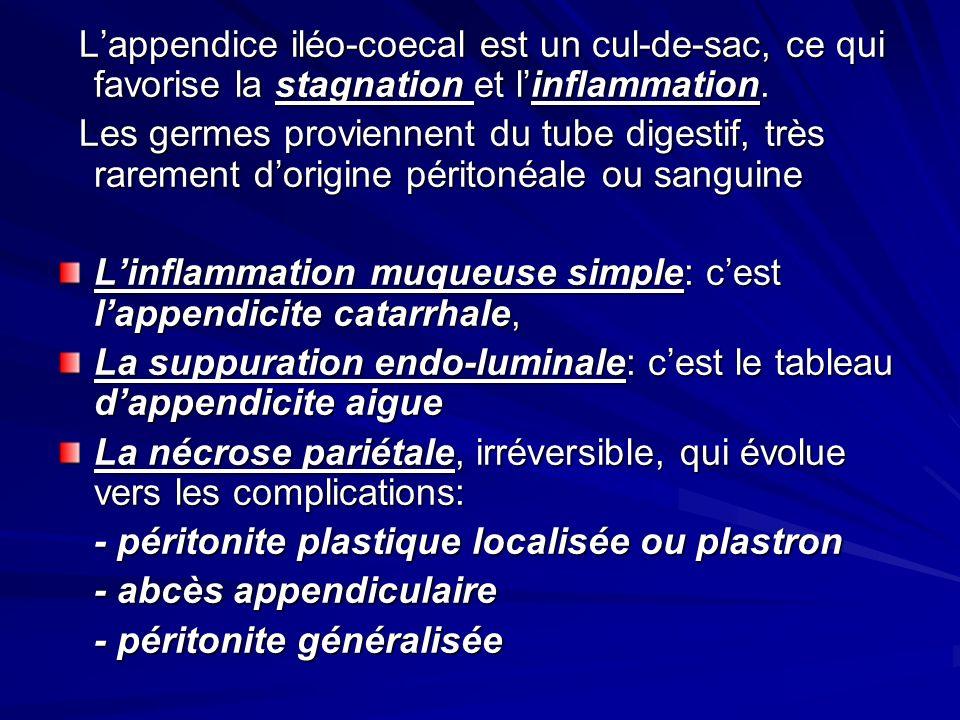 Lappendice iléo-coecal est un cul-de-sac, ce qui favorise la stagnation et linflammation. Lappendice iléo-coecal est un cul-de-sac, ce qui favorise la