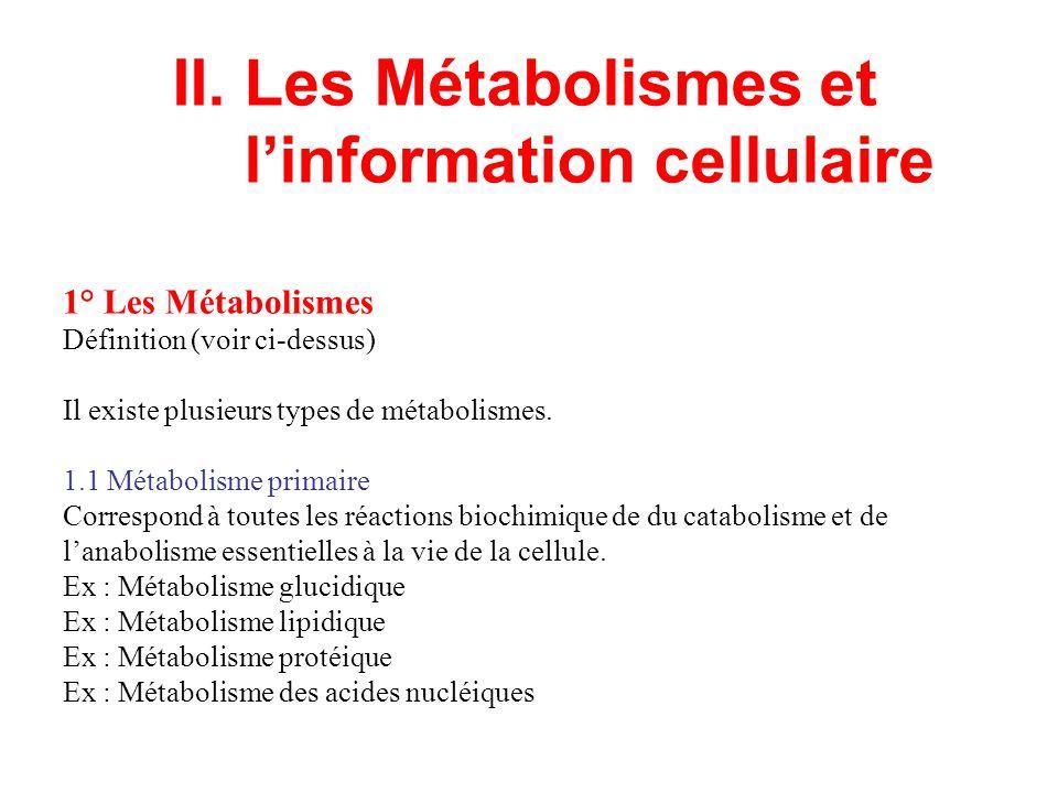 II. Les Métabolismes et linformation cellulaire 1° Les Métabolismes Définition (voir ci-dessus) Il existe plusieurs types de métabolismes. 1.1 Métabol