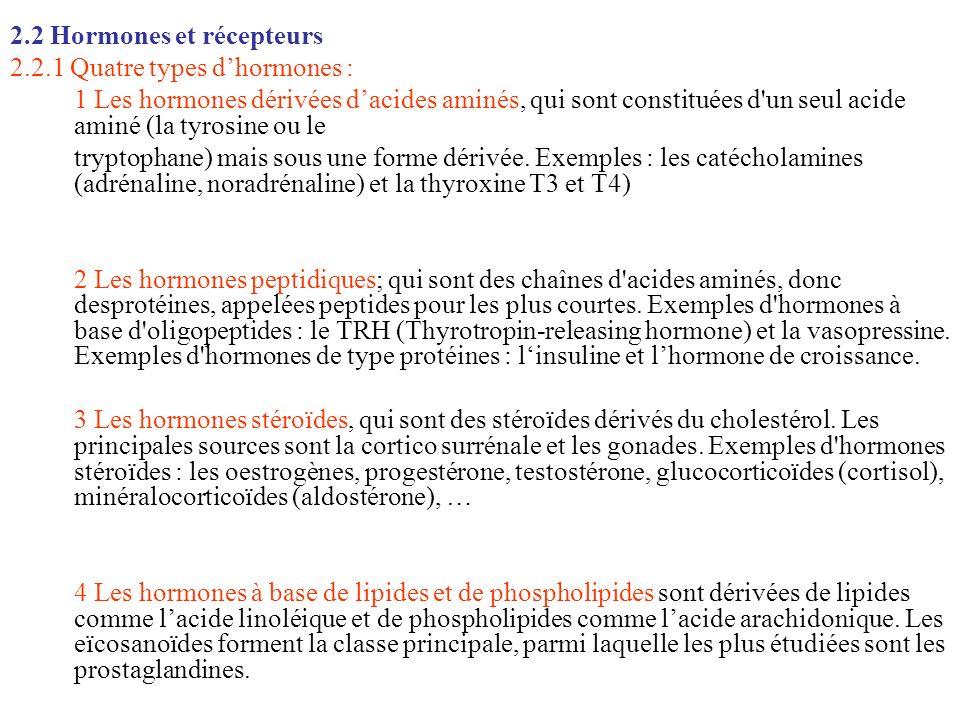 2.2 Hormones et récepteurs 2.2.1 Quatre types dhormones : 1 Les hormones dérivées dacides aminés, qui sont constituées d'un seul acide aminé (la tyros