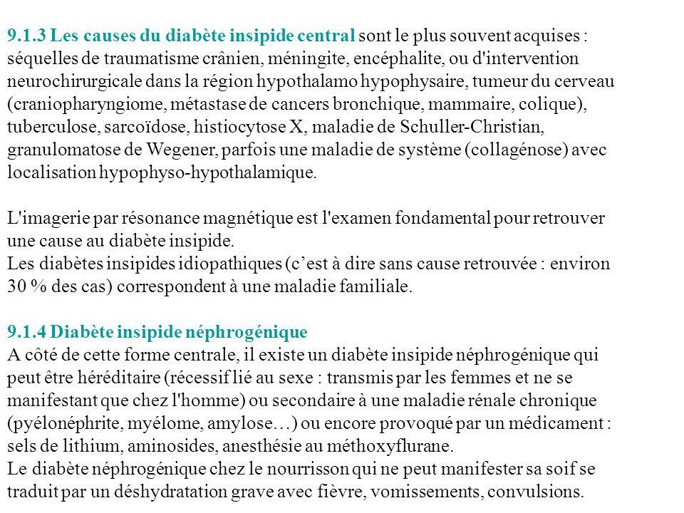 9.1.3 Les causes du diabète insipide central sont le plus souvent acquises : séquelles de traumatisme crânien, méningite, encéphalite, ou d'interventi
