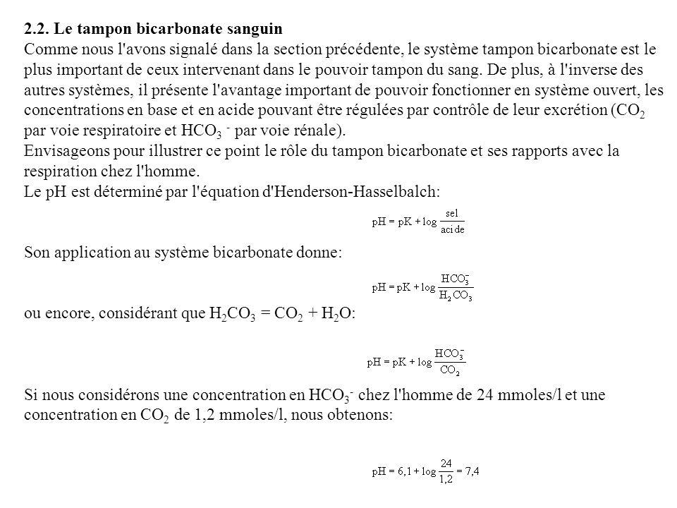 2.2. Le tampon bicarbonate sanguin Comme nous l'avons signalé dans la section précédente, le système tampon bicarbonate est le plus important de ceux