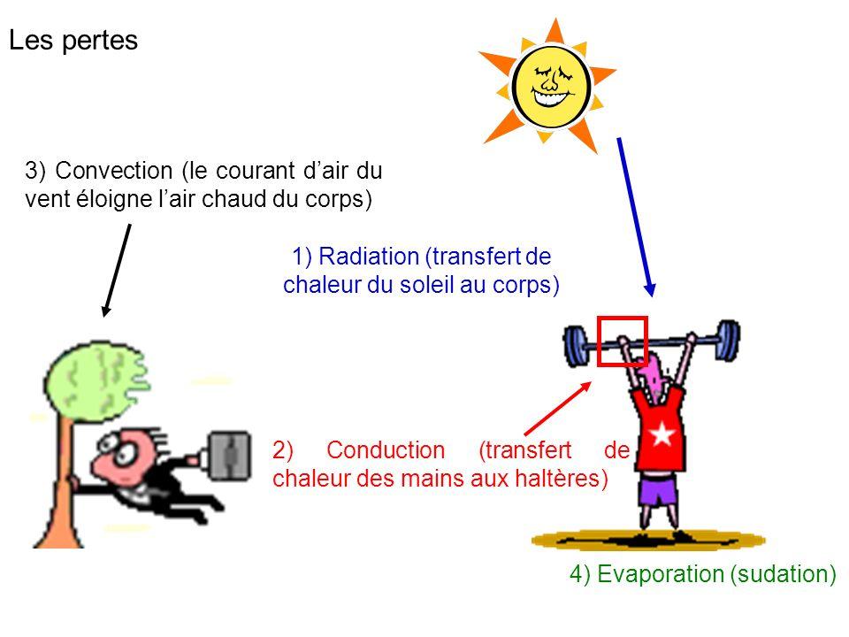 Les pertes 3) Convection (le courant dair du vent éloigne lair chaud du corps) 2) Conduction (transfert de chaleur des mains aux haltères) 1) Radiatio