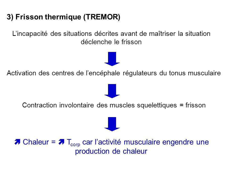 3) Frisson thermique (TREMOR) Lincapacité des situations décrites avant de maîtriser la situation déclenche le frisson Activation des centres de lencé