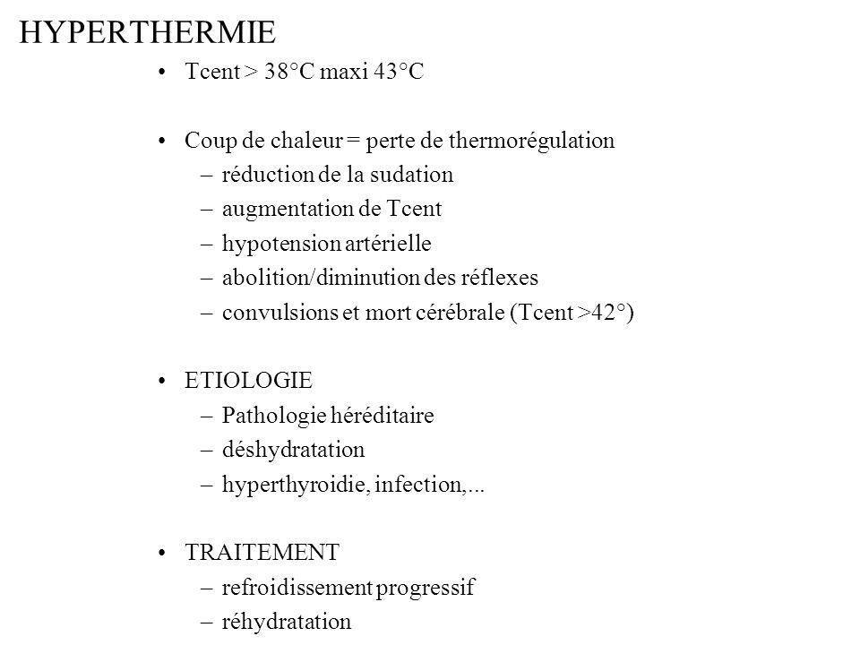 HYPERTHERMIE Tcent > 38°C maxi 43°C Coup de chaleur = perte de thermorégulation –réduction de la sudation –augmentation de Tcent –hypotension artériel
