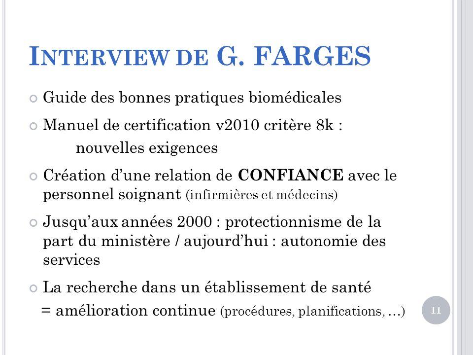 I NTERVIEW DE G. FARGES Guide des bonnes pratiques biomédicales Manuel de certification v2010 critère 8k : nouvelles exigences Création dune relation