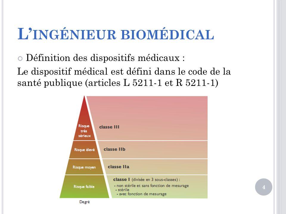 L INGÉNIEUR BIOMÉDICAL Définition des dispositifs médicaux : Le dispositif médical est défini dans le code de la santé publique (articles L 5211-1 et