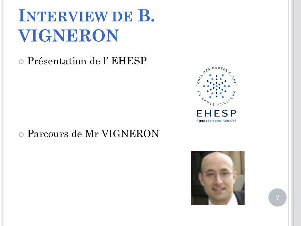 I NTERVIEW DE B. VIGNERON Présentation de l EHESP Parcours de Mr VIGNERON 7