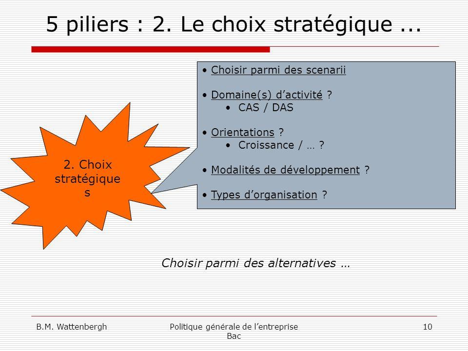 B.M. WattenberghPolitique générale de lentreprise Bac 10 5 piliers : 2. Le choix stratégique... 2. Choix stratégique s Choisir parmi des scenarii Doma