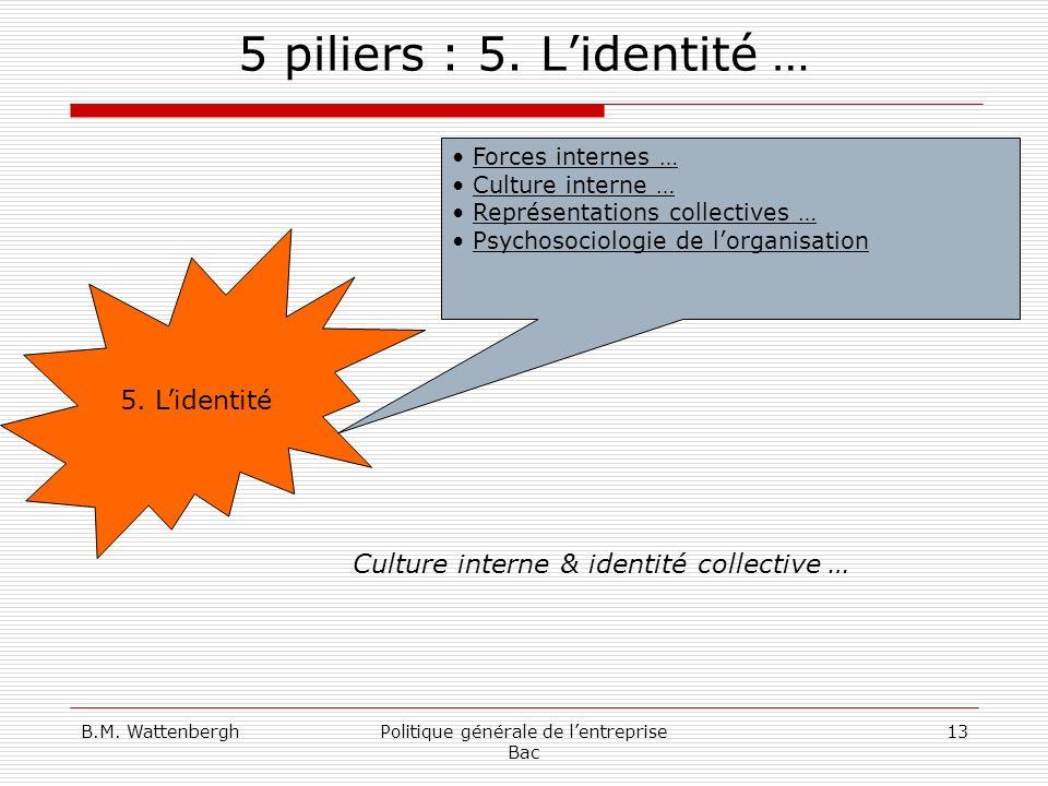 B.M. WattenberghPolitique générale de lentreprise Bac 13 5 piliers : 5. Lidentité … 5. Lidentité Forces internes … Culture interne … Représentations c