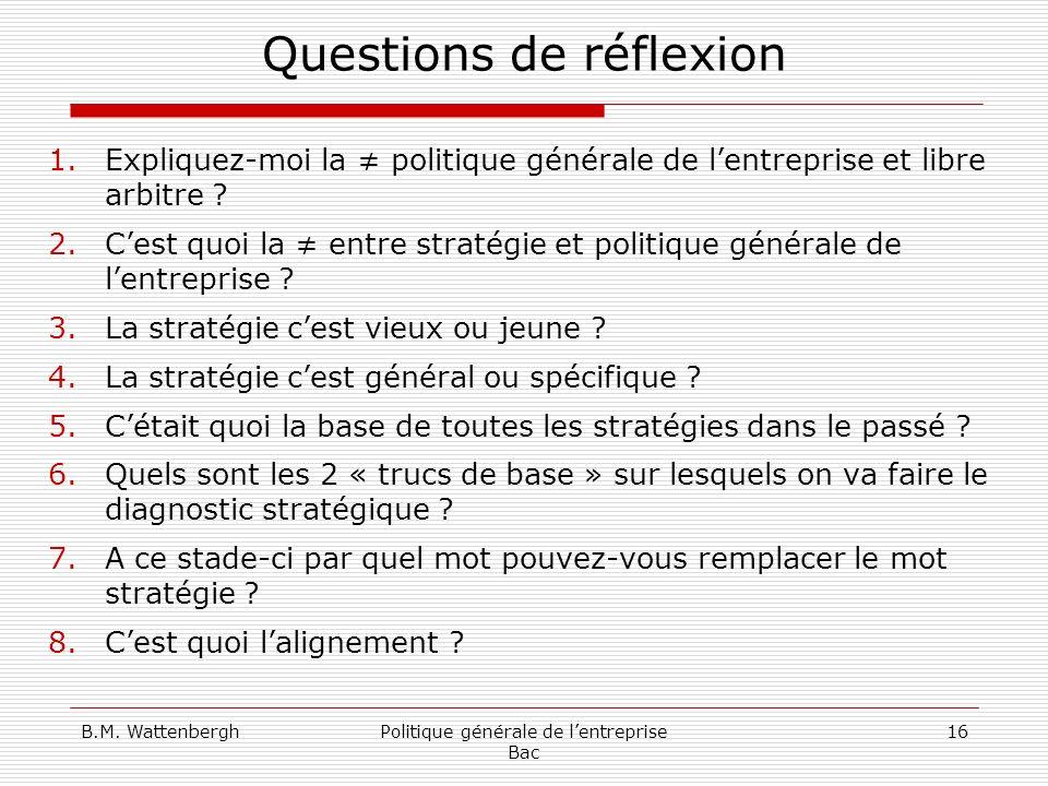 B.M. WattenberghPolitique générale de lentreprise Bac 16 Questions de réflexion 1.Expliquez-moi la politique générale de lentreprise et libre arbitre