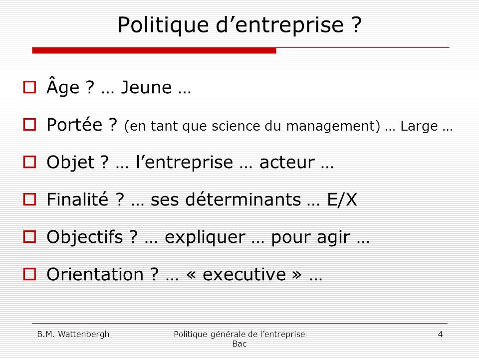 B.M. WattenberghPolitique générale de lentreprise Bac 4 Politique dentreprise ? Âge ? … Jeune … Portée ? (en tant que science du management) … Large …