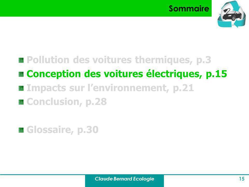 Claude Bernard Ecologie 15 Sommaire Pollution des voitures thermiques, p.3 Conception des voitures électriques, p.15 Impacts sur lenvironnement, p.21