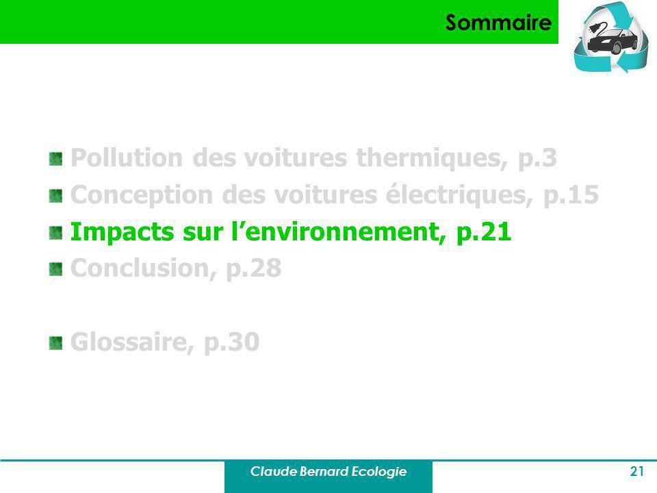 Claude Bernard Ecologie 21 Sommaire Pollution des voitures thermiques, p.3 Conception des voitures électriques, p.15 Impacts sur lenvironnement, p.21