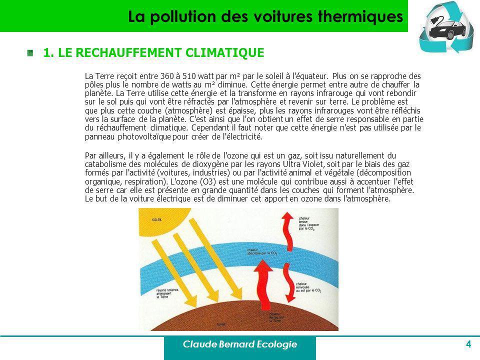 Claude Bernard Ecologie 4 La pollution des voitures thermiques 1. LE RECHAUFFEMENT CLIMATIQUE La Terre reçoit entre 360 à 510 watt par m² par le solei