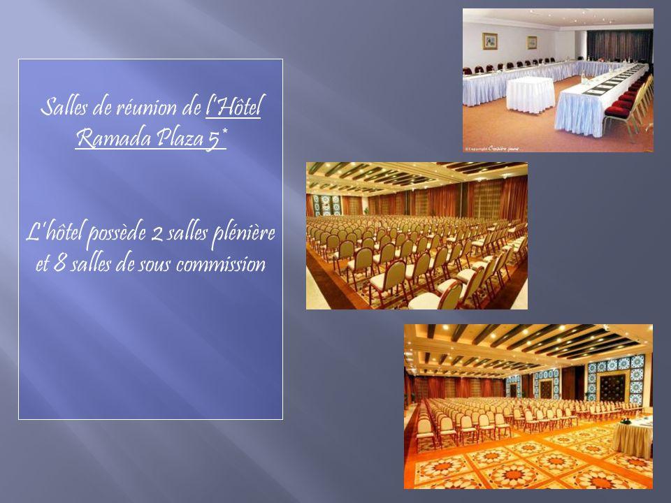 Salles de réunion de lHôtel Ramada Plaza 5* Lhôtel possède 2 salles plénière et 8 salles de sous commission