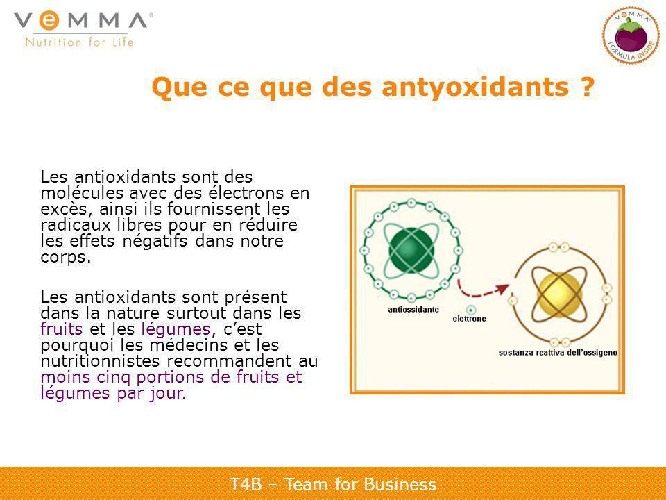 T4B – Team for Business Que ce que des antyoxidants ? Les antioxidants sont des molécules avec des électrons en excès, ainsi ils fournissent les radic