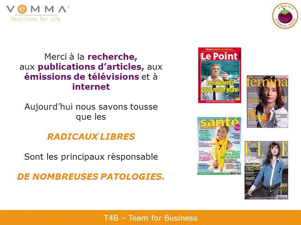 T4B – Team for Business Merci à la recherche, aux publications darticles, aux émissions de télévisions et à internet Aujourdhui nous savons tousse que
