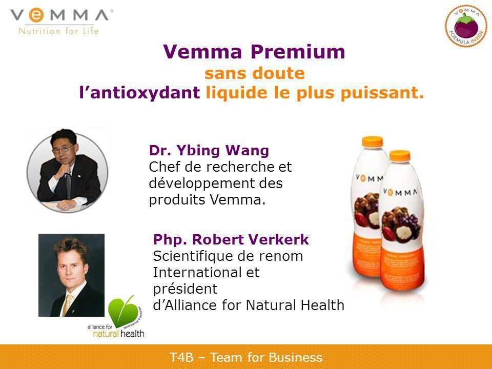 T4B – Team for Business Vemma Premium sans doute lantioxydant liquide le plus puissant. Dr. Ybing Wang Chef de recherche et développement des produits