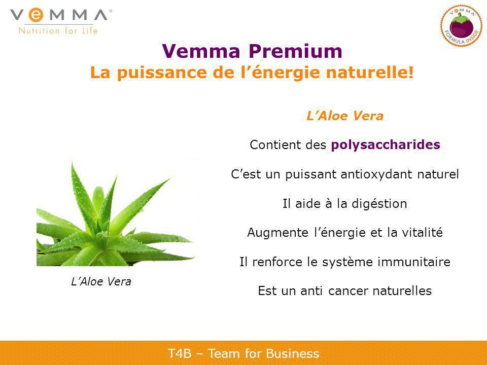 T4B – Team for Business Vemma Premium La puissance de lénergie naturelle! LAloe Vera Contient des polysaccharides Cest un puissant antioxydant naturel