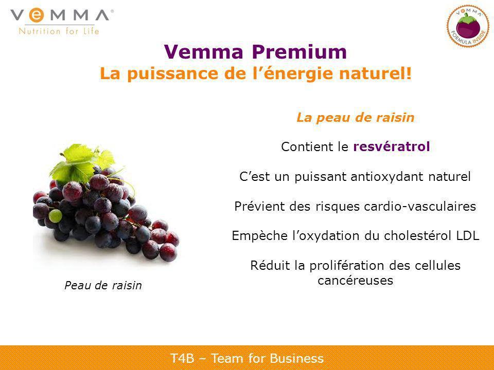 T4B – Team for Business Vemma Premium La puissance de lénergie naturel! La peau de raisin Contient le resvératrol Cest un puissant antioxydant naturel