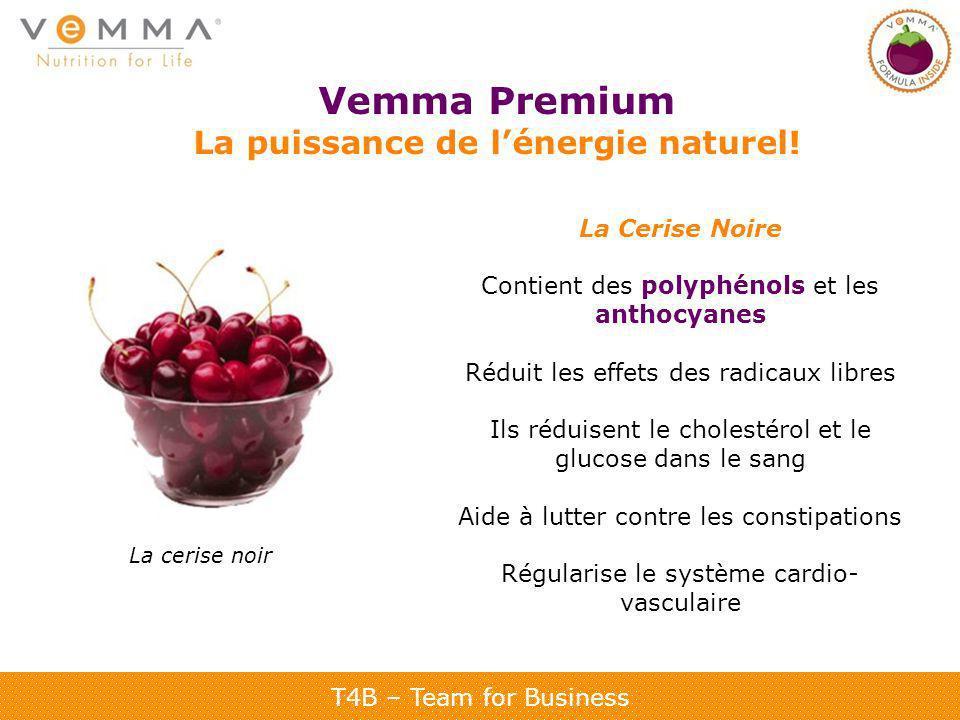 T4B – Team for Business Vemma Premium La puissance de lénergie naturel! La Cerise Noire Contient des polyphénols et les anthocyanes Réduit les effets