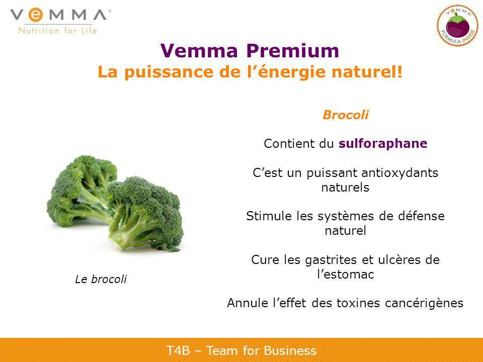 T4B – Team for Business Vemma Premium La puissance de lénergie naturel! Brocoli Contient du sulforaphane Cest un puissant antioxydants naturels Stimul