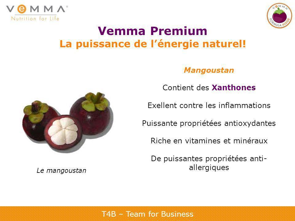 T4B – Team for Business Vemma Premium La puissance de lénergie naturel! Mangoustan Contient des Xanthones Exellent contre les inflammations Puissante