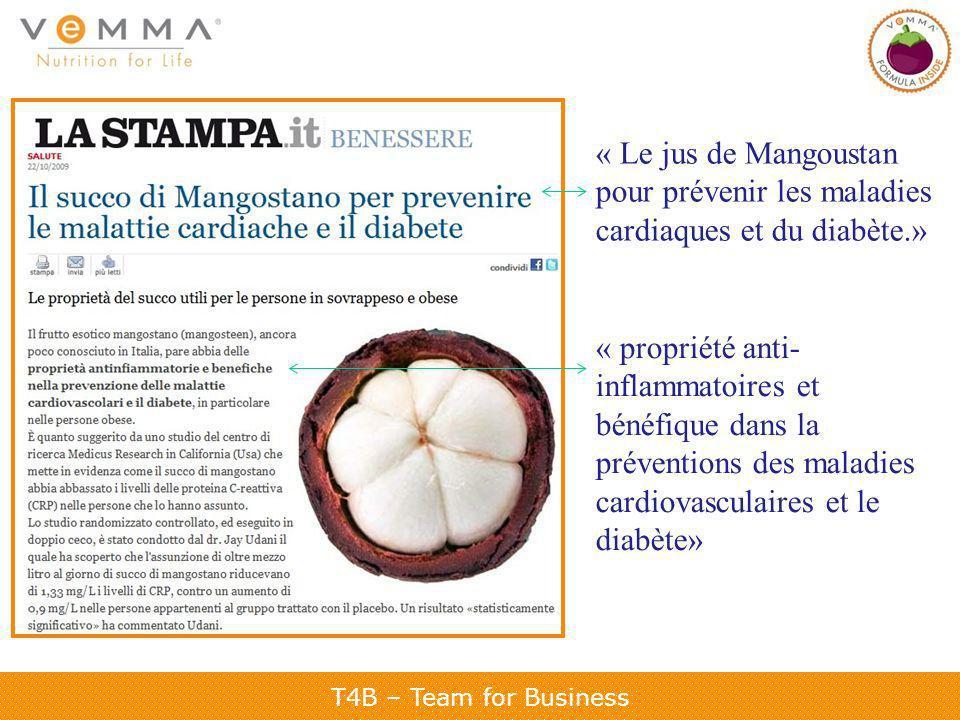 T4B – Team for Business « Le jus de Mangoustan pour prévenir les maladies cardiaques et du diabète.» « propriété anti- inflammatoires et bénéfique dans la préventions des maladies cardiovasculaires et le diabète»