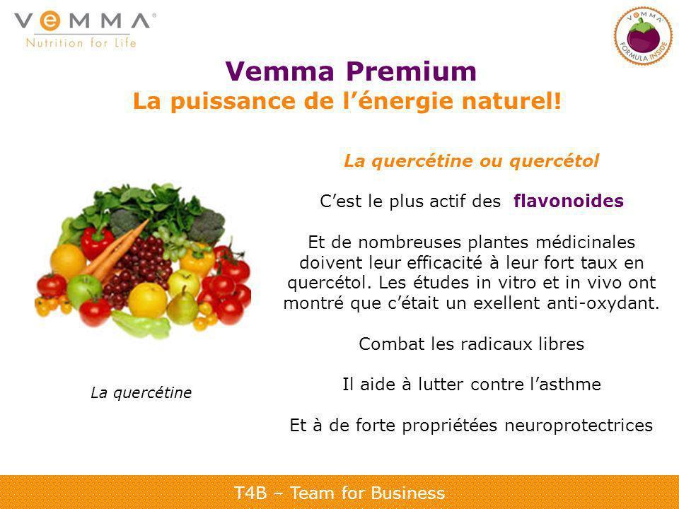 T4B – Team for Business Vemma Premium La puissance de lénergie naturel! La quercétine ou quercétol Cest le plus actif des flavonoides Et de nombreuses