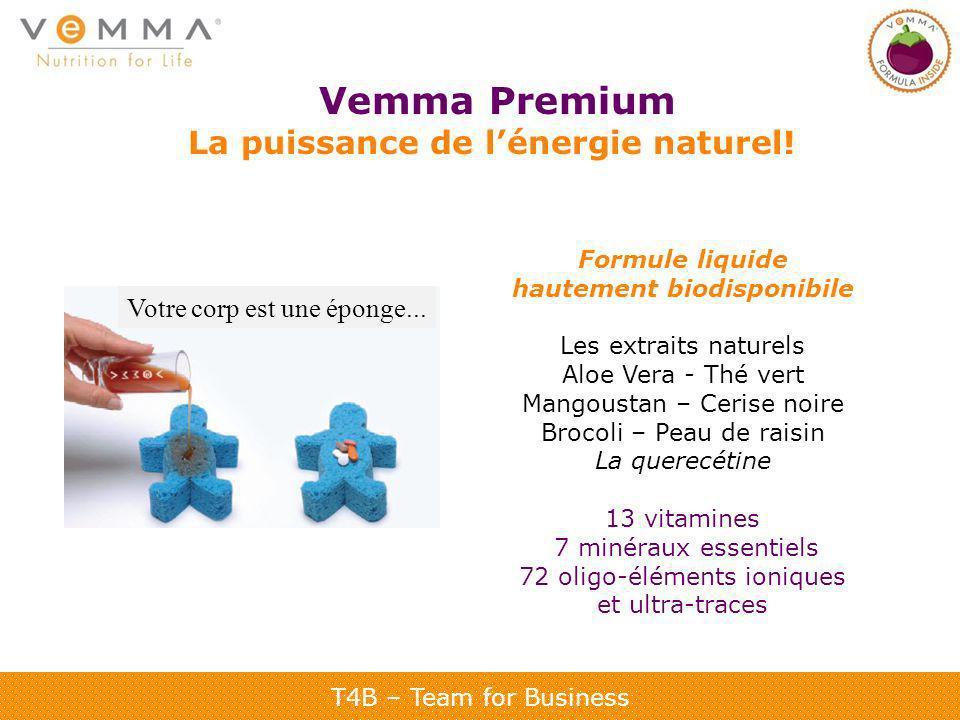 T4B – Team for Business Vemma Premium La puissance de lénergie naturel! Formule liquide hautement biodisponibile Les extraits naturels Aloe Vera - Thé