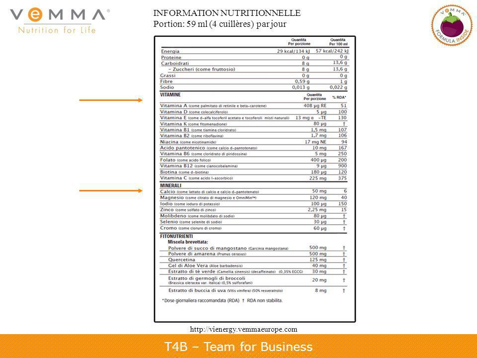 T4B – Team for Business INFORMATION NUTRITIONNELLE Portion: 59 ml (4 cuillères) par jour http://vienergy.vemmaeurope.com