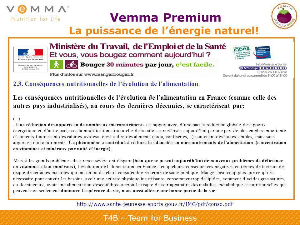 T4B – Team for Business Vemma Premium La puissance de lénergie naturel! http://www.sante-jeunesse-sports.gouv.fr/IMG/pdf/conso.pdf 2.3. Conséquences n