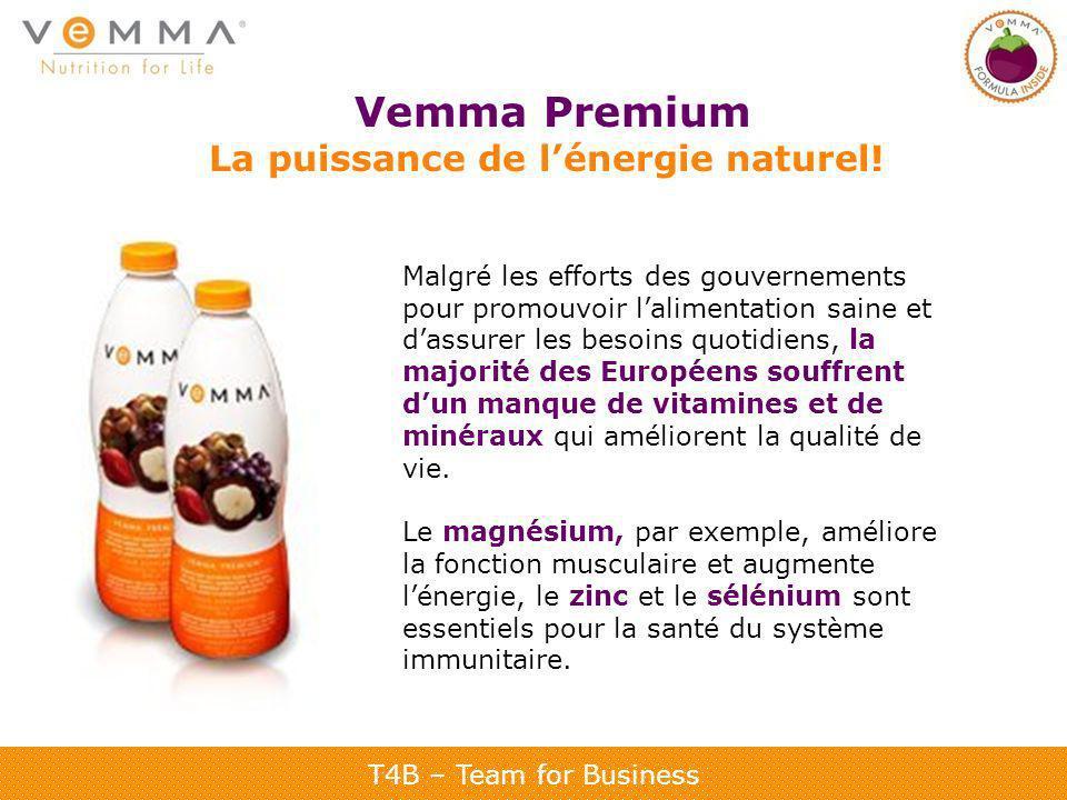 T4B – Team for Business Vemma Premium La puissance de lénergie naturel! Malgré les efforts des gouvernements pour promouvoir lalimentation saine et da