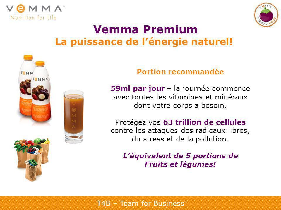 T4B – Team for Business Vemma Premium La puissance de lénergie naturel! Portion recommandée 59ml par jour – la journée commence avec toutes les vitami