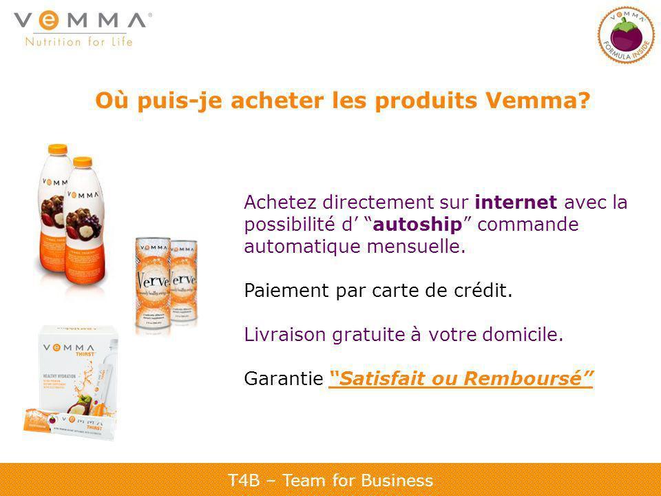 Où puis-je acheter les produits Vemma? Achetez directement sur internet avec la possibilité d autoship commande automatique mensuelle. Paiement par ca