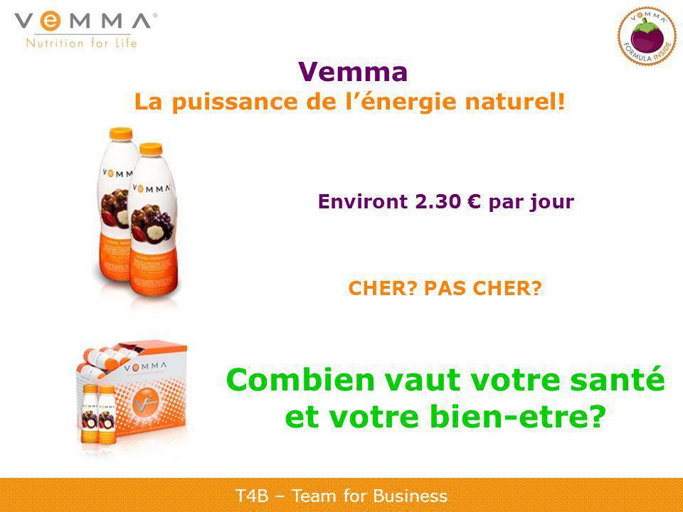 T4B – Team for Business Vemma La puissance de lénergie naturel! Environt 2.30 par jour CHER? PAS CHER? Combien vaut votre santé et votre bien-etre?