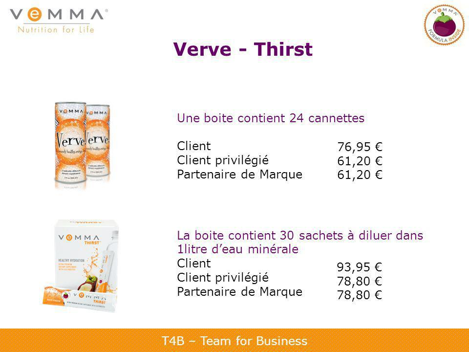 T4B – Team for Business Verve - Thirst Une boite contient 24 cannettes Client Client privilégié Partenaire de Marque La boite contient 30 sachets à di