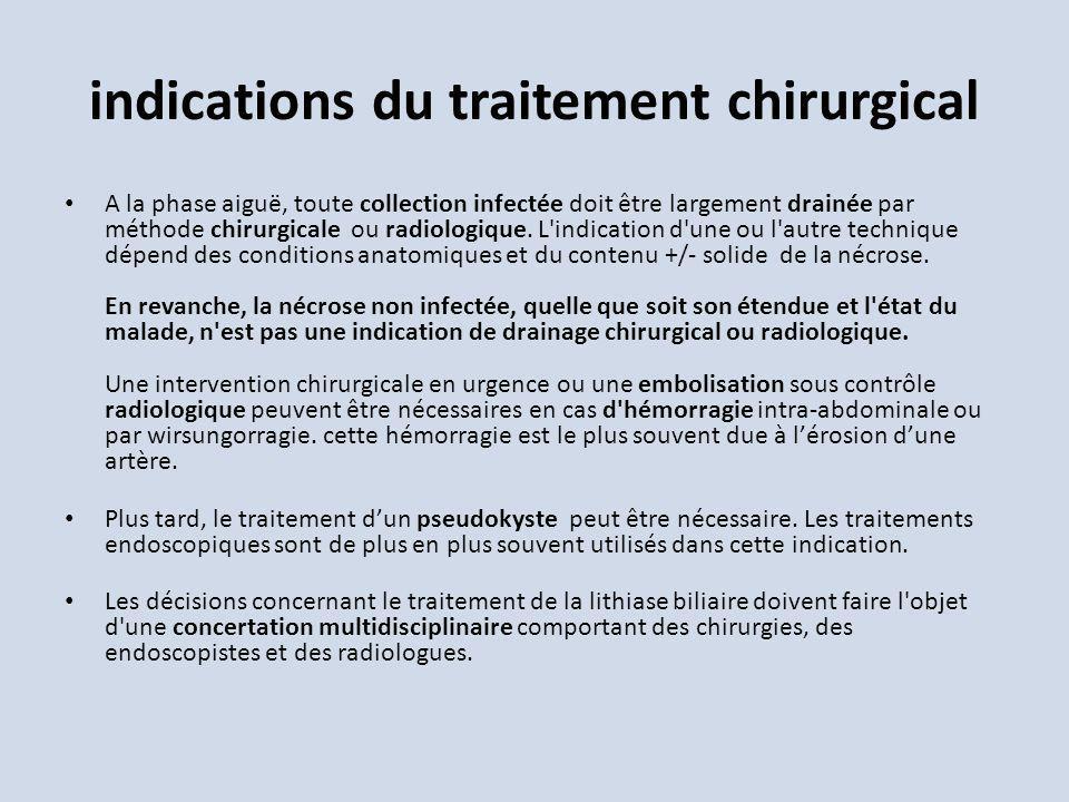 indications du traitement chirurgical A la phase aiguë, toute collection infectée doit être largement drainée par méthode chirurgicale ou radiologique