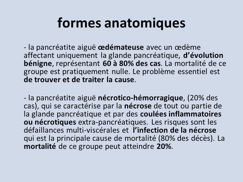 formes anatomiques - la pancréatite aiguë œdémateuse avec un œdème affectant uniquement la glande pancréatique, dévolution bénigne, représentant 60 à